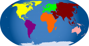 world map, continents, africa